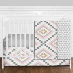 4 pc. Blush Pink and Grey Boho and Tribal Aztec Baby Girl Crib Bedding Set without Bumper by Sweet Jojo Designs
