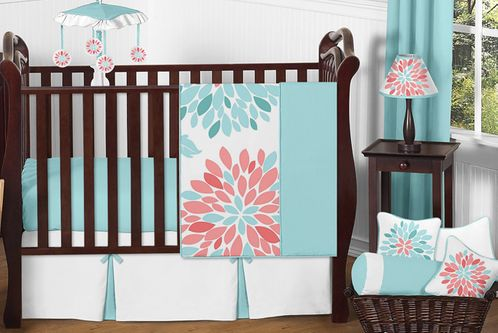 Turquoise And Coral Floral Baby Girl Nursery Crib Bedding Set By