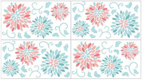 Turquoise and Coral Emma Peel and Stick Wall Decal Stickers Art Nursery Decor by Sweet Jojo Designs - Set of 4 Sheets - Click to enlarge