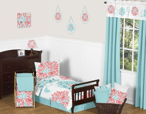 Turquoise and Coral Emma Toddler Bedding - 5pc Set by Sweet Jojo Designs - Click to enlarge
