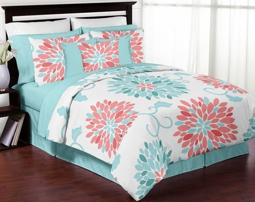 Turquoise And Coral Emma 3pc Girls Teen Full / Queen Bedding Set Collection  By Sweet Jojo