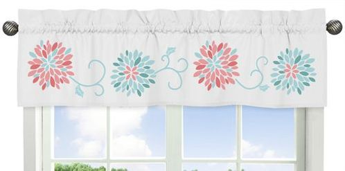 Turquoise and Coral Emma�Collection Window Valance - Click to enlarge