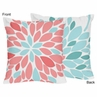 Turquoise and Coral Emma Decorative Accent Throw Pillows - Set of 2