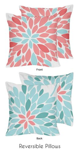 Turquoise and Coral Emma Decorative Accent Throw Pillows - Set of 2 - Click to enlarge