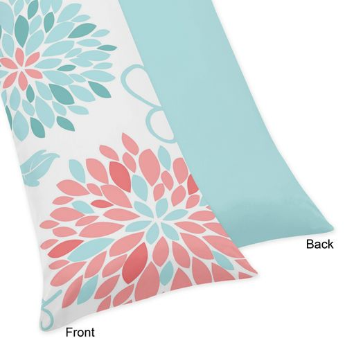 Turquoise and Coral Emma Full Length Double Zippered Body Pillow Case Cover - Click to enlarge