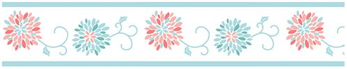 Turquoise and Coral Emma Girls Childrens and Teens Wall Paper Border - Click to enlarge