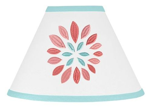 Turquoise and Coral Emma Lamp Shade by Sweet Jojo Designs - Click to enlarge