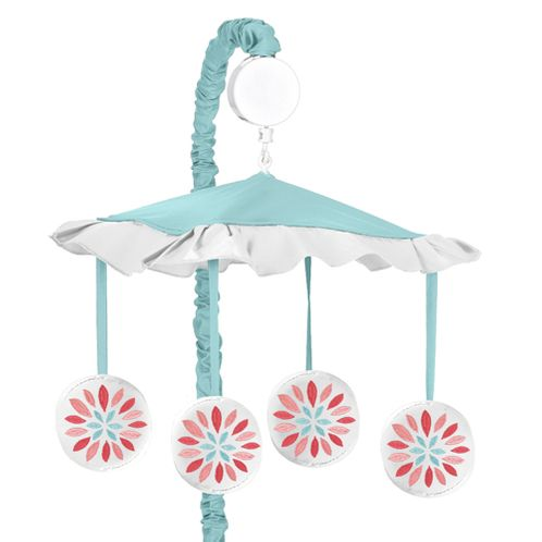 Turquoise and Coral Emma Musical Baby Crib Mobile by Sweet Jojo Designs - Click to enlarge