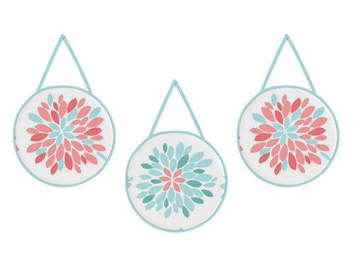 Turquoise and Coral Emma Wall Hanging Accessories by Sweet Jojo Designs - Click to enlarge