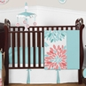 Turquoise and Coral Floral Baby Girl Nursery Crib Bedding Set by Sweet Jojo Designs - 4 pieces - Blue and White Emma Flower