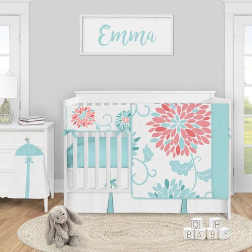 Turquoise and Coral Floral Baby Girl Nursery Crib Bedding Set by Sweet Jojo Designs - 5 pieces - Teal Blue and Pink Emma Flower - Click to enlarge