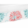 Turquoise and Coral Floral Crib Bed Skirt for Emma�Baby Bedding Sets by Sweet Jojo Designs