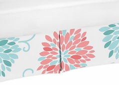 Turquoise and Coral Floral Crib Bed Skirt for Emma Baby Bedding Sets by Sweet Jojo Designs