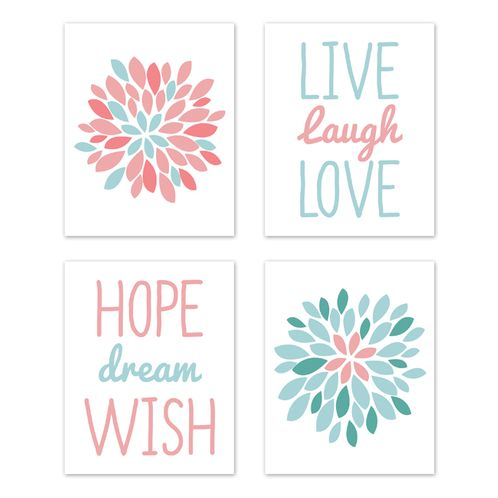Turquoise and Coral Floral Wall Art Prints Room Decor for Baby, Nursery, and Kids for Emma Collection by Sweet Jojo Designs - Set of 4 - Live Laugh Love - Click to enlarge