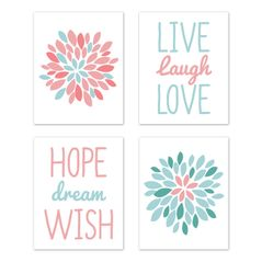 Turquoise and Coral Floral Wall Art Prints Room Decor for Baby, Nursery, and Kids for Emma Collection by Sweet Jojo Designs - Set of 4 - Live Laugh Love