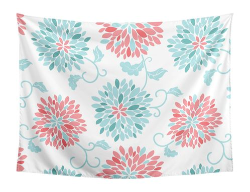 Turquoise and Coral Floral Wall Hanging Tapestry Art Decor for Emma Collection by Sweet Jojo Designs - 60in. x 80in. - Click to enlarge