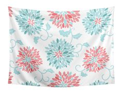 Turquoise and Coral Floral Wall Hanging Tapestry Art Decor for Emma Collection by Sweet Jojo Designs - 60in. x 80in.
