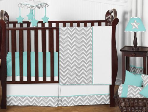 Turquoise and Gray Chevron Zig Zag Baby Bedding - 4pc Crib Set by Sweet Jojo Designs - Click to enlarge