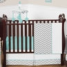 Turquoise and Gray Chevron Zig Zag Baby Bedding - 4pc Crib Set by Sweet Jojo Designs