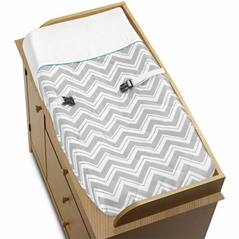 Turquoise and Gray Chevron Zig Zag Baby Changing Pad Cover by Sweet Jojo Designs