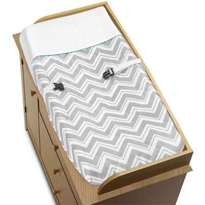 Turquoise and Gray Chevron Zig Zag Baby Changing Pad Cover by Sweet Jojo Designs - Click to enlarge