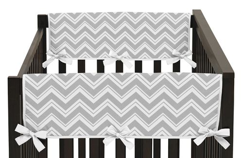 Turquoise and Gray Chevron Zig Zag Baby Crib Side Rail Guard Covers by Sweet Jojo Designs - Set of 2 - Click to enlarge