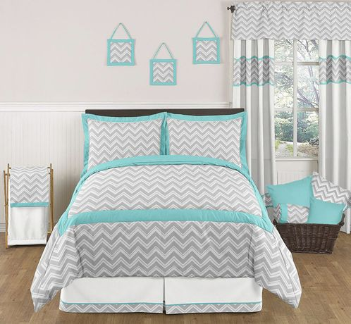 Turquoise and Gray Chevron Zig Zag Childrens and Kids Bedding - 3pc Full / Queen Set by Sweet Jojo Designs - Click to enlarge