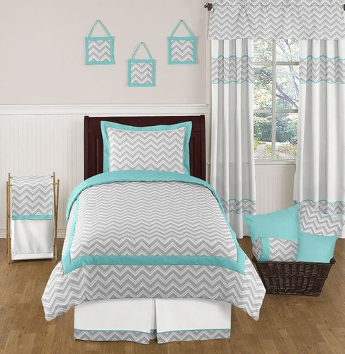 Turquoise and Gray Chevron Zig Zag Childrens and Kids Bedding Set - 4 pc Twin Set by Sweet Jojo Designs - Click to enlarge