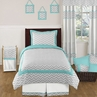 Turquoise and Gray Chevron Zig Zag Childrens and Kids Bedding Set - 4 pc Twin Set by Sweet Jojo Designs