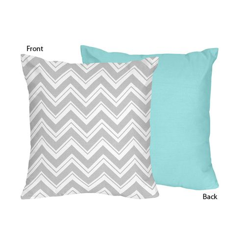 Turquoise and Gray Chevron Zig Zag Decorative Accent Throw Pillow by Sweet Jojo Designs - Click to enlarge