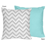 Turquoise and Gray Chevron Zig Zag Decorative Accent Throw Pillow by Sweet Jojo Designs