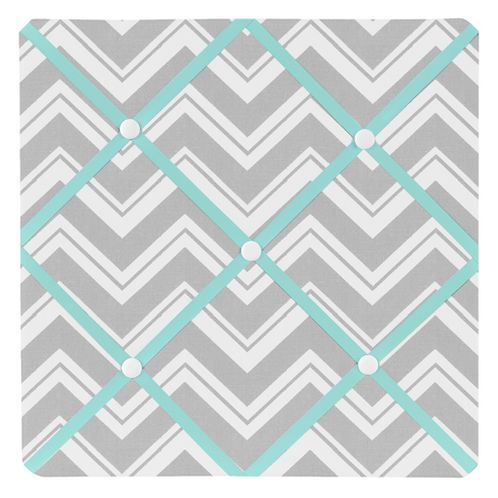 Turquoise and Gray Chevron Zig Zag Fabric Memory/Memo Photo Bulletin Board by Sweet Jojo Designs - Click to enlarge