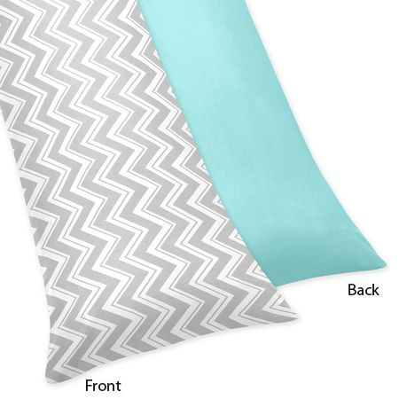 Turquoise and Gray Chevron Zig Zag Full Length Double Zippered Body Pillow Case Cover by Sweet Jojo Designs - Click to enlarge