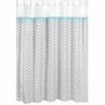 Turquoise and Gray Chevron Zig Zag Kids Bathroom Fabric Bath Shower Curtain by Sweet Jojo Designs