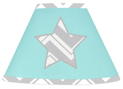 Turquoise and Gray Chevron Zig Zag Lamp Shade by Sweet Jojo Designs - Click to enlarge