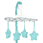 Turquoise and Gray Chevron Zig Zag Musical Baby Crib Mobile by Sweet Jojo Designs