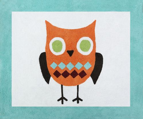 Turquoise and Lime Hooty Owl Accent Floor Rug by Sweet Jojo Designs - Click to enlarge