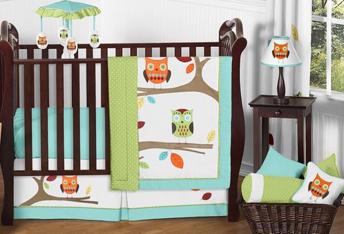 Turquoise and Lime Hooty Owl Baby Bedding - 11pc Crib Set - Click to enlarge