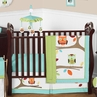 Turquoise and Lime Hooty Owl Baby Bedding - 11pc Crib Set
