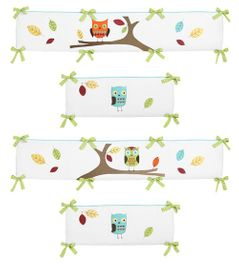 Turquoise and Lime Hooty Collection Crib Bumper by Sweet Jojo Designs
