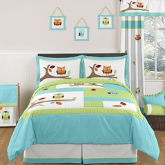Turquoise and Lime Hooty Owl Childrens and Kids Bedding - 3pc Full / Queen Set by Sweet Jojo Designs
