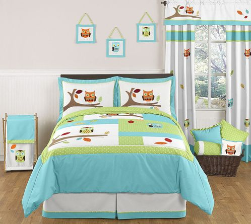 Turquoise and Lime Hooty Owl Childrens and Kids Bedding - 3pc Full / Queen Set by Sweet Jojo Designs - Click to enlarge
