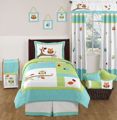 Turquoise and Lime Hooty Owl Childrens and Kids Bedding Set - 4 pc Twin Set - Click to enlarge