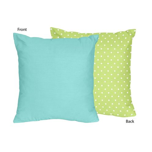 Turquoise and Lime Hooty Owl Decorative Accent Throw Pillow by Sweet Jojo Designs - Click to enlarge