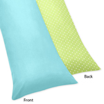 Turquoise and Lime Hooty Owl Full Length Double Zippered Body Pillow Case Cover by Sweet Jojo Designs