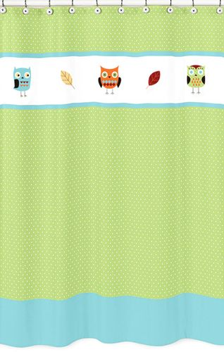 Turquoise and Lime Hooty Owl Kids Bathroom Fabric Bath Shower Curtain by Sweet Jojo Designs - Click to enlarge