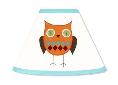 Turquoise and Lime Hooty Owl Lamp Shade by Sweet Jojo Designs - Click to enlarge