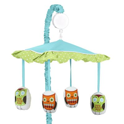 Turquoise and Lime Hooty Owl Musical Baby Crib Mobile by Sweet Jojo Designs - Click to enlarge