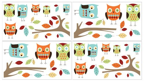Turquoise and Lime Hooty Owl Peel and Stick Wall Decal Stickers Art Nursery Decor by Sweet Jojo Designs - Set of 4 Sheets - Click to enlarge