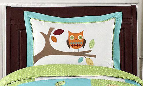 Turquoise and Lime Hooty Owl Pillow Sham by Sweet Jojo Designs - Click to enlarge